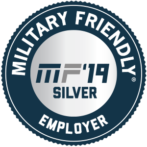 "Image with text that reads ""Military Friendly 2019 MF' 19 Silver Employer"""