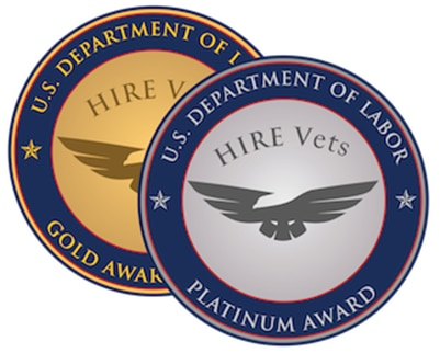 "Image with text that reads ""U.S. Department of Labor. Hire Vets. Platinum Award."