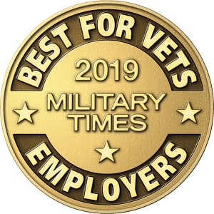 Image with text . This is a badge which says Military Times - Best for Vets 2018 Badge