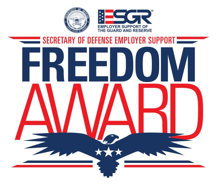 "Image with text that reads ""ESGR Employer Support of the Guard Reserve. Secretary of Defense Support. Freedom Award."""