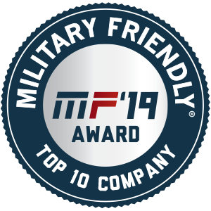 "Image with text that reads ""Military Friendly, MF 2019 Award. Top 10 Company""."