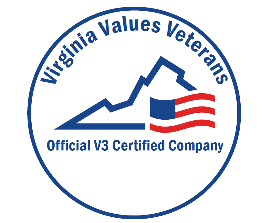 "Image with text that reads ""Virginia Values Veterans - Official V3 Certified Company"""