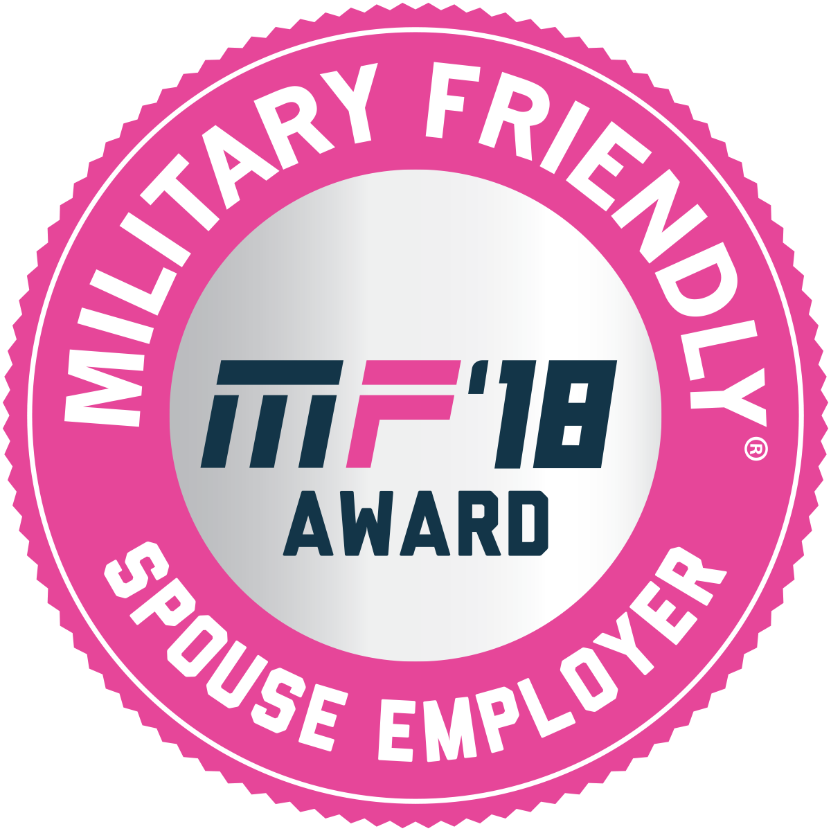 "Image with text that reads ""Military Friendly, MF '18 Award Spouse Employer""."
