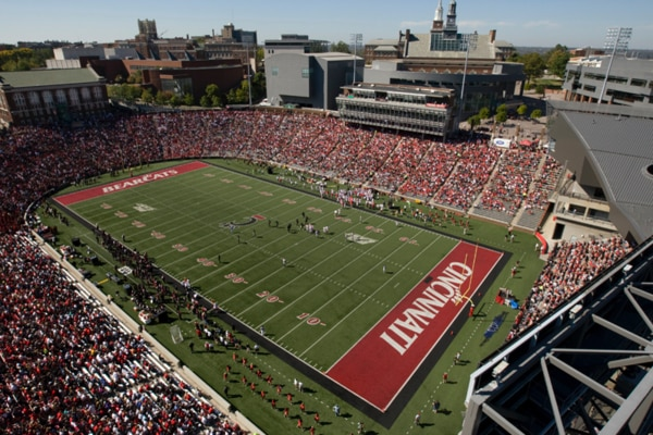 UC Main Campus overhead view of Nippert stadium