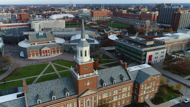 Aerial photo of UC main campus overlooking McMicken Hall and TUC