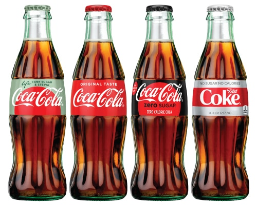 Coca-Cola Life, Coca-Cola Classic, Coca-Cola Zero, and Diet Coke bottles