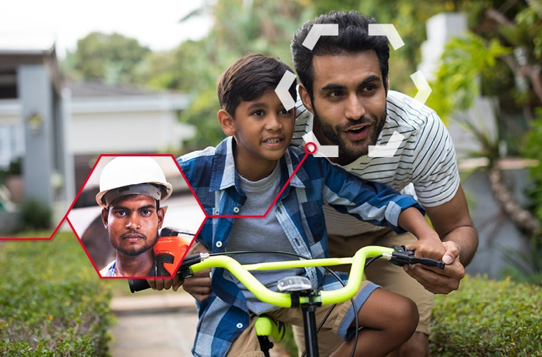 A father is teaching his son how to ride a bycicle. He can also be seen in his professional environment with a safety helmet in a smaller picture.