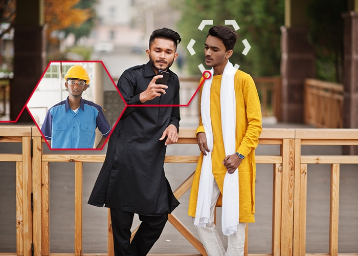Two young men are standing outside. One of them is holding up his smartphone and they are looking at the screen. One of them can also be seen in a smaller picture with a safety helmet infront of a production site.