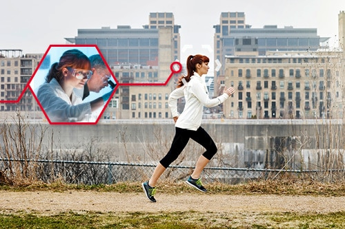 A young woman is running next to a river in a city. She can also be seen in a professional context in a smaller picture: In the laboratory.