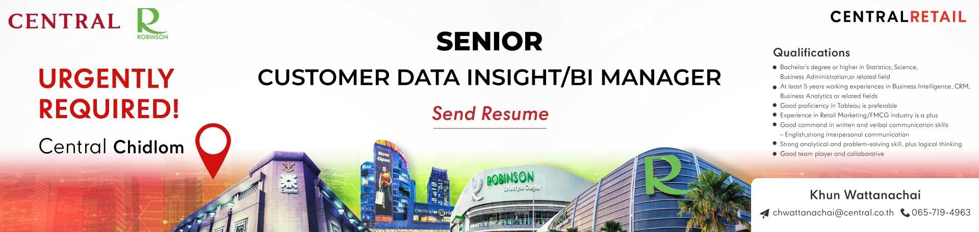 สมัครงาน Central analyst bi insight data