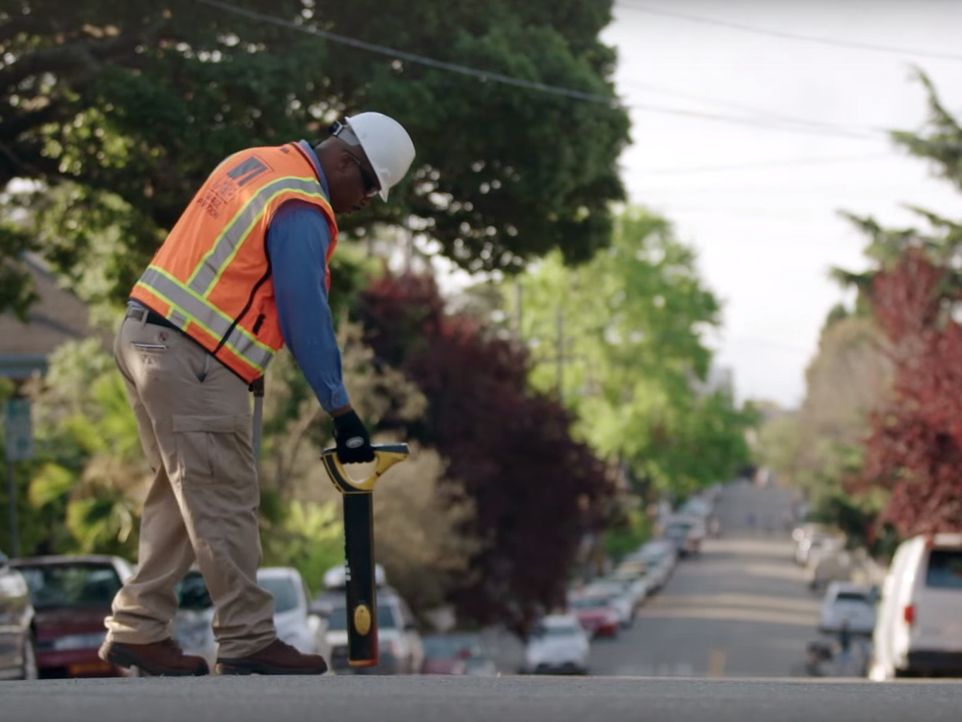 PG&E worker performing safety testing
