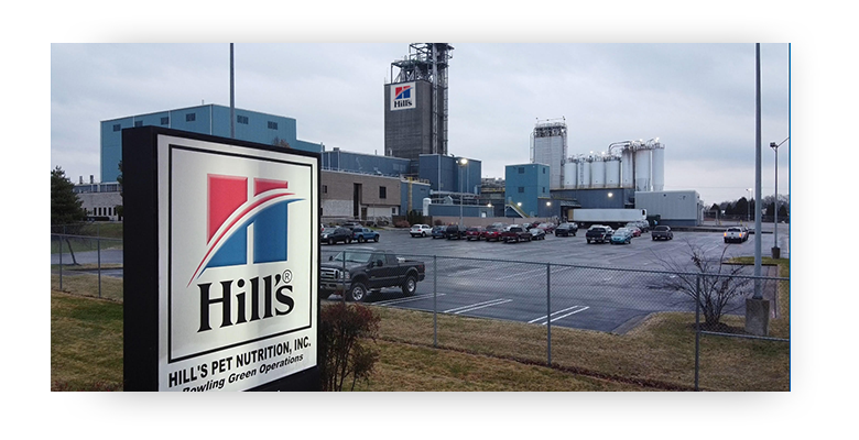 Hill's Pet Nutrition Bowling Green company sign with plant building behind it