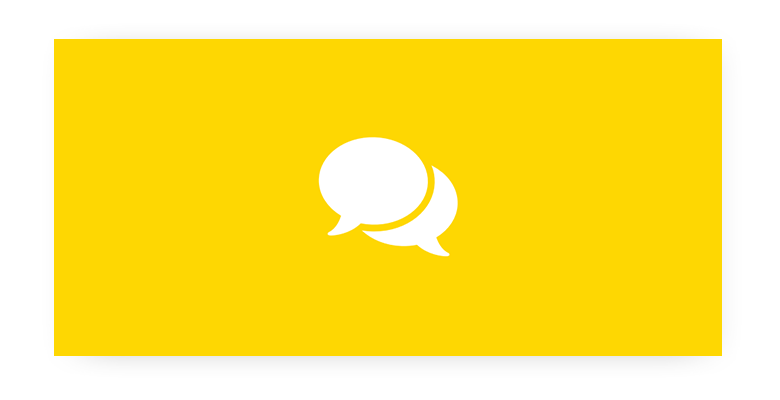 Two white speech bubble icons on a yellow background.