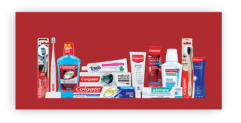 Oral Care products from Colgate-Palmolive, brands include Colgate, Tom's of Maine and Elmex.