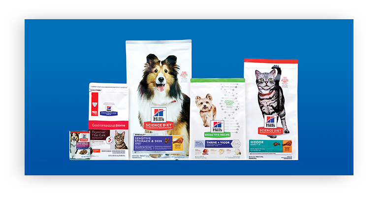 Una variedad de productos de Hill's Pet Food