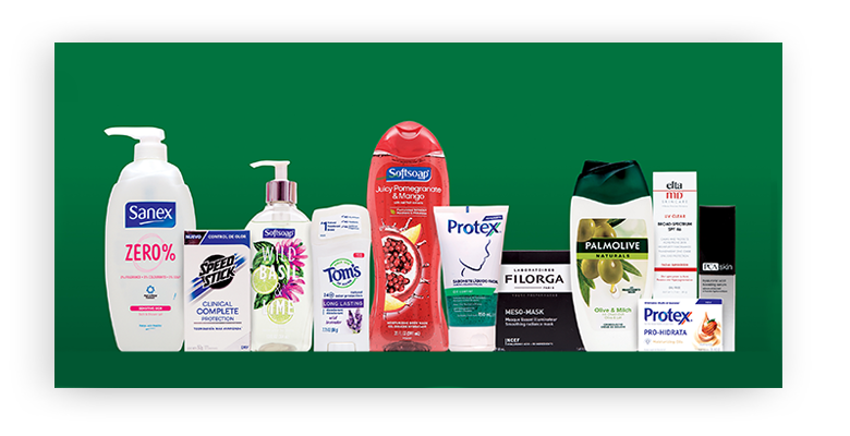 An assortment of personal care products that fall under the Colgate-Palmolive family