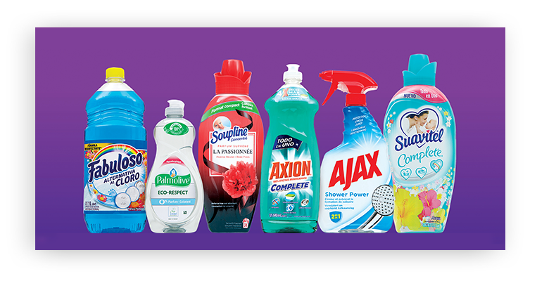 Home Care products including Fabuloso, Palmolive, soupline, axion, ajax and suavitel