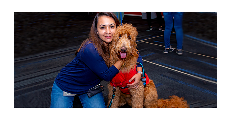 Woman kneeling, hugging red haired labradoodle dog that is wearing a red shirt