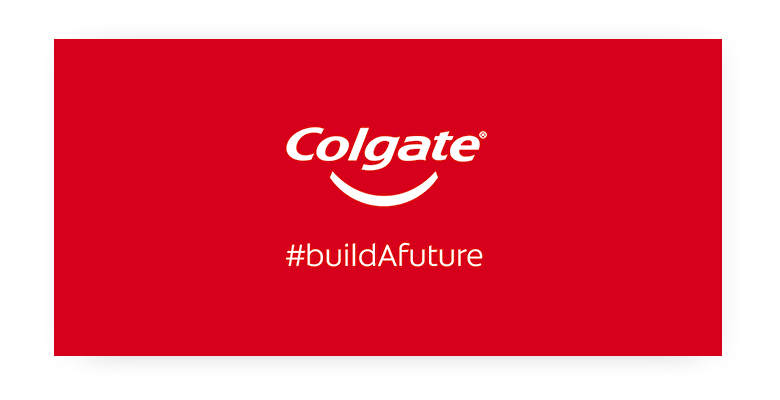 Colgate Build A Future logo in white on a red background.