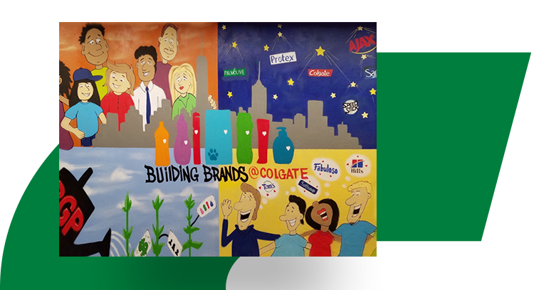 Mural of four different drawings that show off the breadth of Colgate-Palmolive's brands.