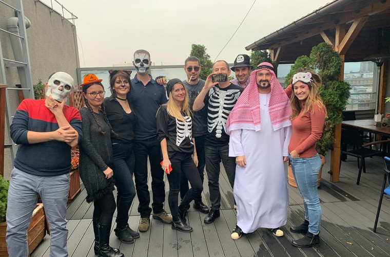 Employees in costumes