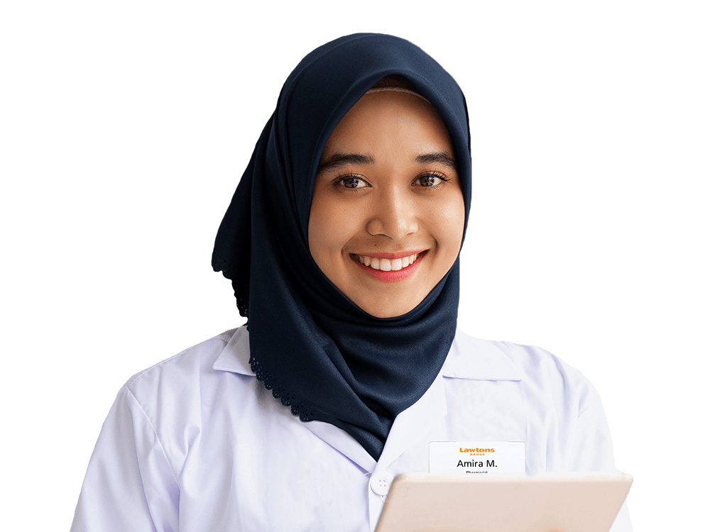 Female Pharmacist wearing lab coat and smiling