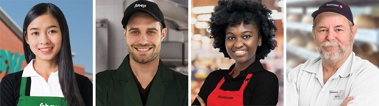 Smiling Sobeys, Foodland and Safeway employees wearing store uniforms