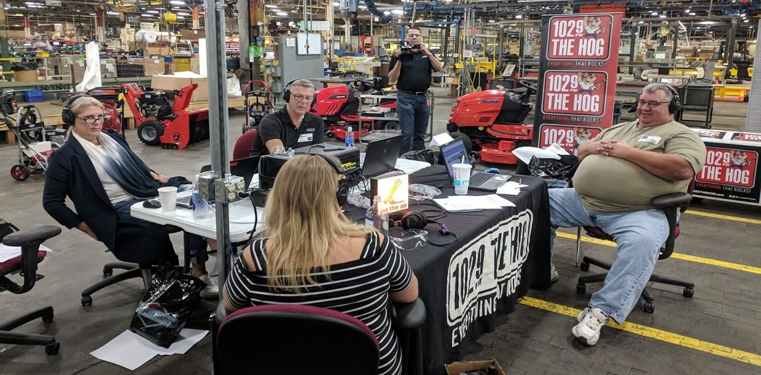 """Bob & Brian from Milwaukee's 102.9 THE HOG recently hosted their popular morning show LIVE from Briggs & Stratton's Wauwatosa plant as part of the duo's """"Take the Boys to Work"""" tour. The tour features local businesses and was a unique opportunity for Briggs & Stratton to reinforce its family of brands and portfolio of products and why it's a great place to work."""