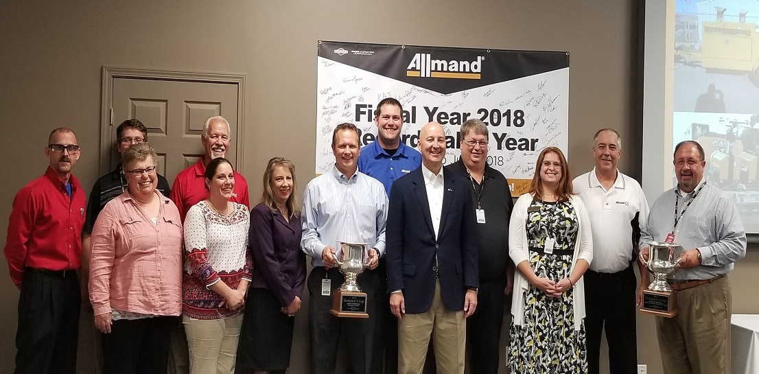 Allmand welcomed Nebraska Governor Pete Ricketts to its facility in Holdrege. The visit was part of the governor's tour to recognize companies that have contributed to the state's economic development achievements!