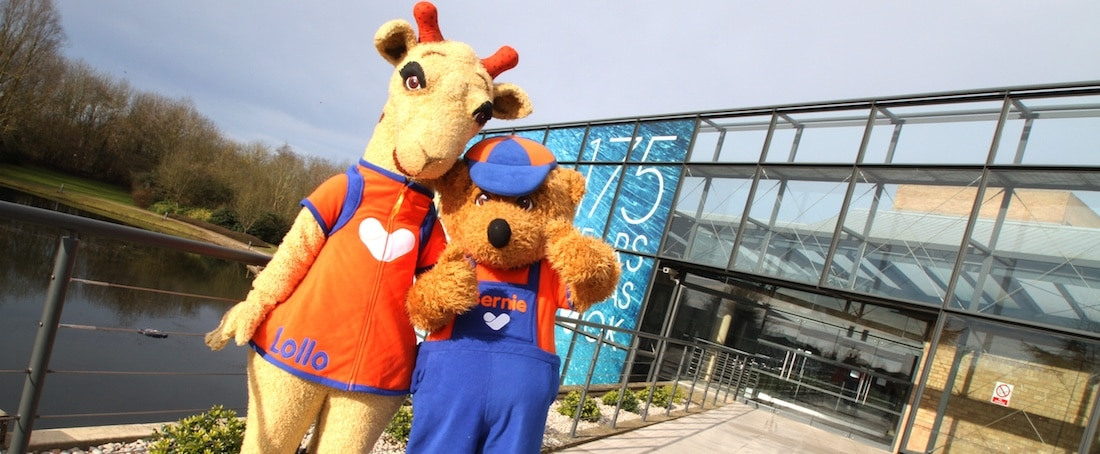 Lollo and Bernie characters celebrate Thomas Cook anniversary outside